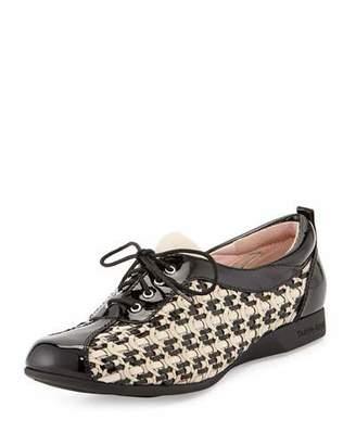 Taryn Rose Trudee Woven Lace-Up Sneaker, Bone/Black $299 thestylecure.com