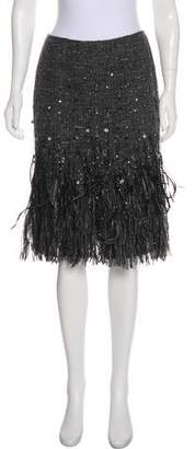 Lafayette 148 Knee-Length Feather-Accented Skirt