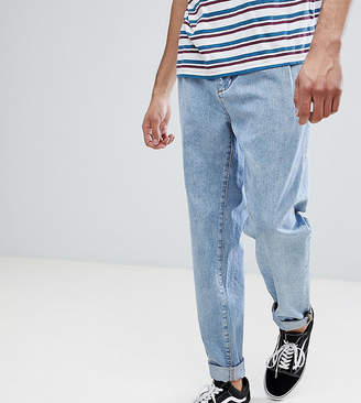 Asos TALL Double Pleated Jeans In Mid Wash Blue