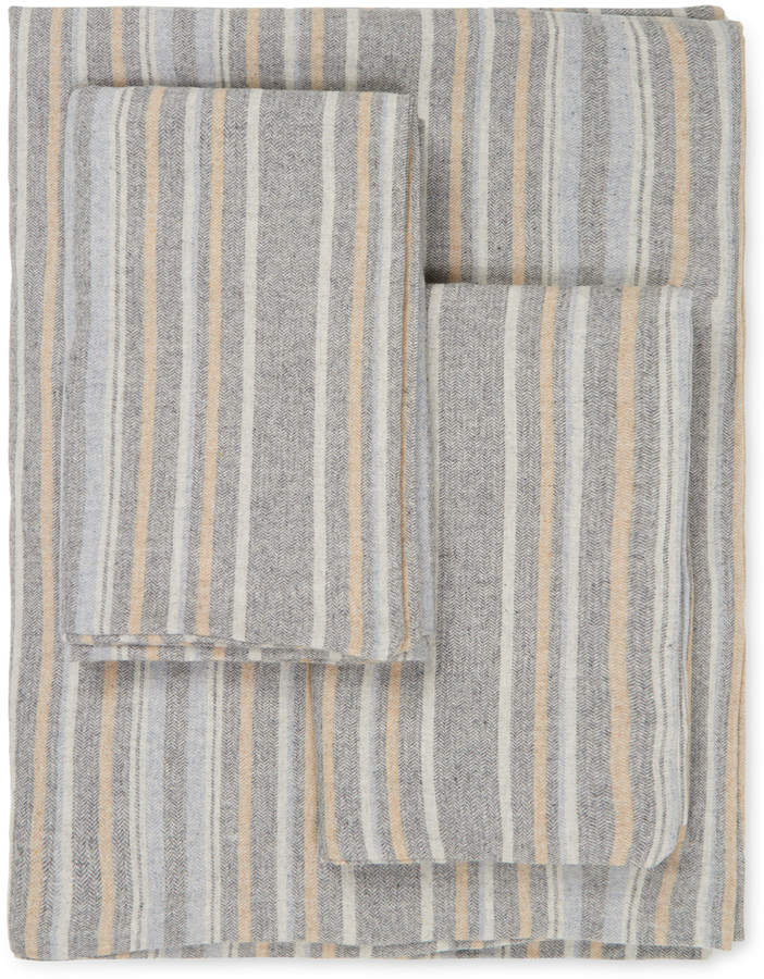 Herringbone Stripe Flannel Sheet Set