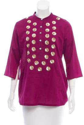 Figue Embellished Three-Quarter Sleeve Tunic w/ Tags