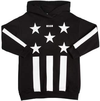 MSGM Stars & Stripes Cotton Sweatshirt Dress