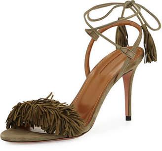 Aquazzura Wild Thing Suede 85mm Sandal $785 thestylecure.com