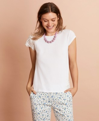 Brooks Brothers Floral Lace-Trimmed T-Shirt