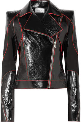 Thierry Mugler Paneled Textured Patent-leather Biker Jacket - Black