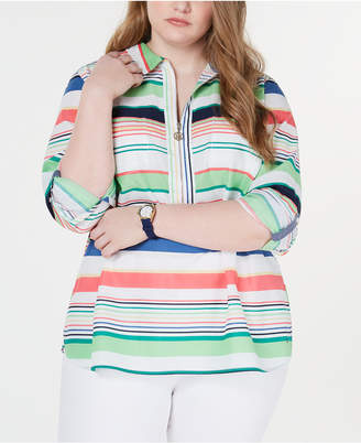 Tommy Hilfiger Plus Size Sardinia Cotton Striped Popover Top