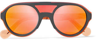 Moncler D-frame Acetate Mirrored Sunglasses - Orange