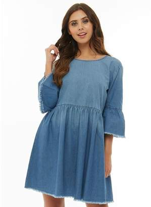 Jacqueline De Yong Womens Shine 3/4 Frill Sleeve Denim Dress Medium Blue Denim