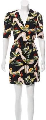 Reformation Floral Print V-Neck Mini Wrap Dress
