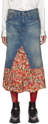 Junya Watanabe Blue Denim and Floral Print Skirt