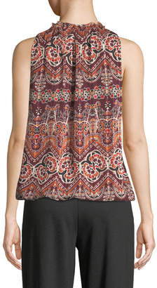 Max Studio Sleeveless Floral-Striped Tie-Front Blouse