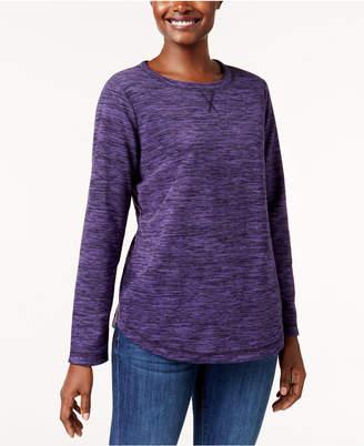 Karen Scott Petite Spacedye Microfleece Crew-Neck Sweatshirt, Created for Macy's