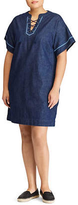 Lauren Ralph Lauren Plus Lace-Up Denim Shift Dress
