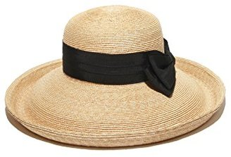Gottex Women's Vivienne Fine Milan Straw Packable Sun Hat Rated $135 thestylecure.com