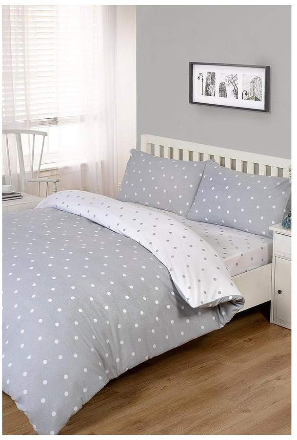 100% Brushed Cotton Printed Spot Duvet Cover Set