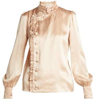 Erdem Edlyn Ruffle Trimmed Silk Blouse - Womens - Beige