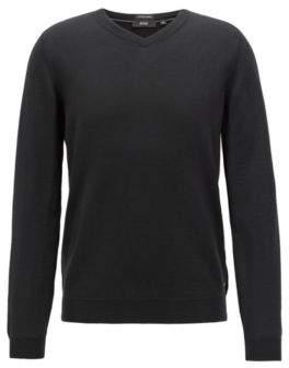 BOSS Hugo V-neck sweater in virgin wool M Black