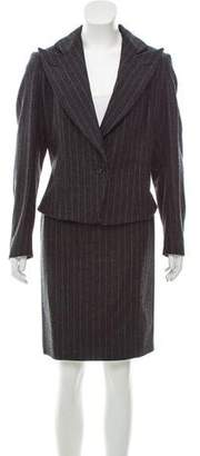 Saint Laurent Wool Pinstripe Skirt Suit w/ Tags