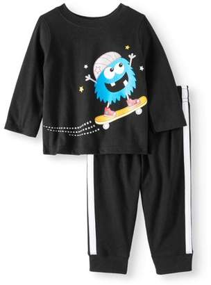 Garanimals Long Sleeve Graphic T-Shirt & Jersey Taped Jogger Pants, 2pc Outfit Set (Baby Boys)