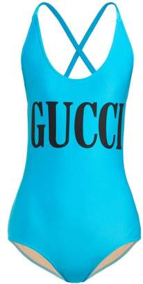 Gucci Logo Print Bodysuit - Womens - Blue Multi