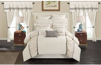 BEIGE Chic Home 24-Piece Auburn Complete bedroom in a bag Pinch Pleat Ruffled Designer Embellished King Bed In a Bag Comforter Set With sheet set