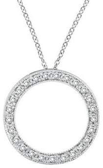 Morris & David 14K White Gold Diamond Pave Circle Pendant - 0.25 TCW