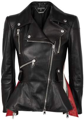 Alexander McQueen Black Peplum Leather Jacket