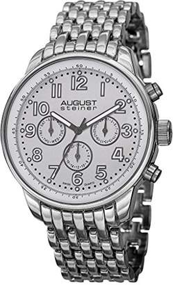 August Steiner Men's AS8147SSW Silver Multifunction Swiss Quartz Watch with White Dial and Silver Bracelet