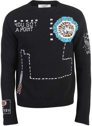 Valentino Black Embroidered Sweater
