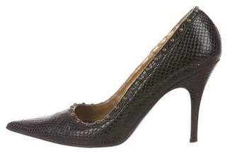 Just Cavalli Embossed Leather Pumps