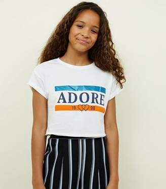 New Look Girls White Adore Glitter Slogan T-Shirt