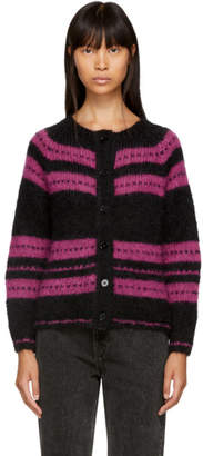 ALEXACHUNG Black and Pink Stripe Cardigan