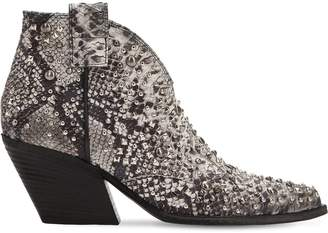 Elena Iachi 60mm Studded Snake Print Leather Boots