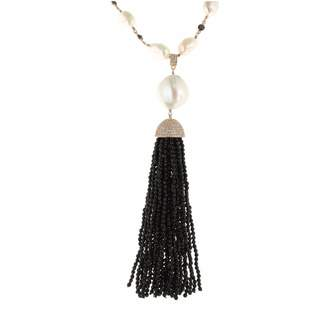 Cosanuova - Rose Pearl & Onyx Tassel Necklace