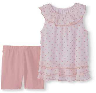 Healthtex Baby Girl Sleeveless Chiffon Ruffle Blouse & Shorts, 2Pc Outfit Set