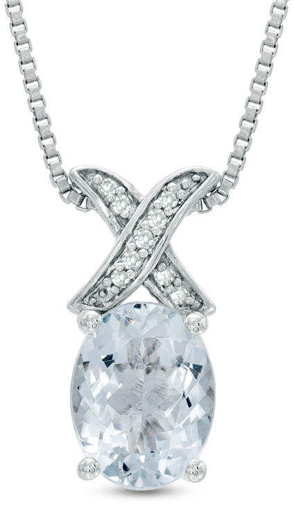 """Zales Oval Aquamarine and Diamond Accent """"X"""" Pendant in Sterling Silver"""