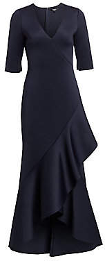Badgley Mischka Women's Asymmetric Ruffled Scuba Gown - Size 0