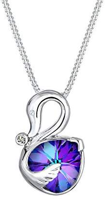 Elli Women's 925 Sterling Silver Xilion Cut Crystal Zircon Swan Pendant Necklace Length of 45 cm