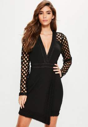 Missguided Black Lace Plunge Asymmetric Bodycon Dress
