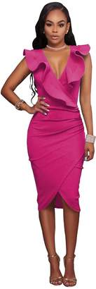 VERTTEE V Neck Long Sleeve Ruffle Plain Bodycon Midi Tight Wrap Women's Party Dress Woman Dress Yellow XXL