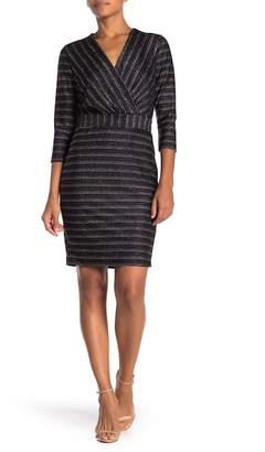 ECI 3\u002F4 Sleeve Metallic Stripe Dress