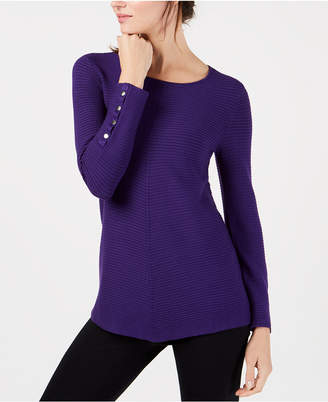 Alfani Petite Ribbed Snap-Detail Sweater