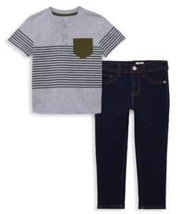 AG Adriano Goldschmied kids Baby Boy's& Little Boy's Two-Piece Striped Henley& Jeans Set