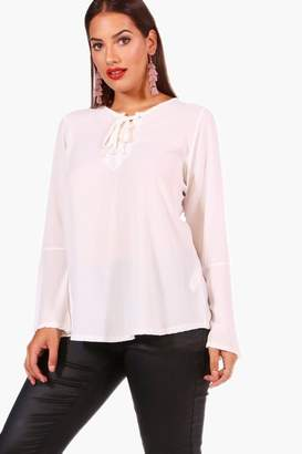 boohoo Plus Fliss Lace Up Front Flare Sleeve Tunic Top