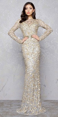 Mac Duggal Gold Branch Keyhole Evening Dress $598 thestylecure.com