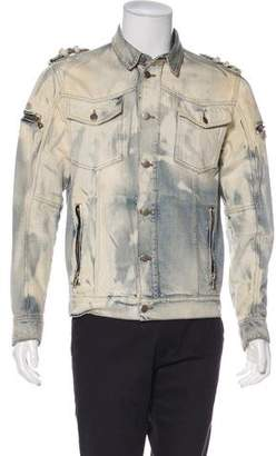 Balmain Distressed Utility Denim Jacket