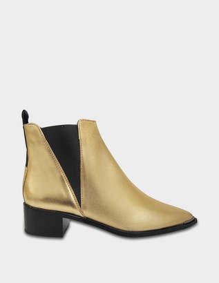 Acne Studios Jensen Metallic Ankle Boots in Gold Black Calfskin