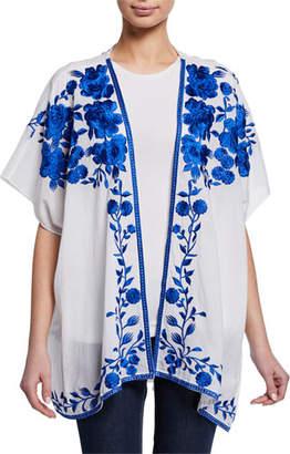 Tolani Plus Size Noelle Floral Embroidered Half-Sleeve Jacket