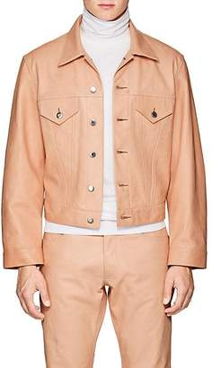 Helmut Lang Men's Leather Trucker Jacket - Beige, Tan