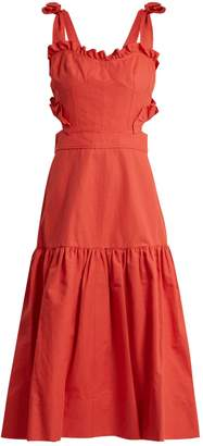 REBECCA TAYLOR Cut-out cotton and linen-blend dress